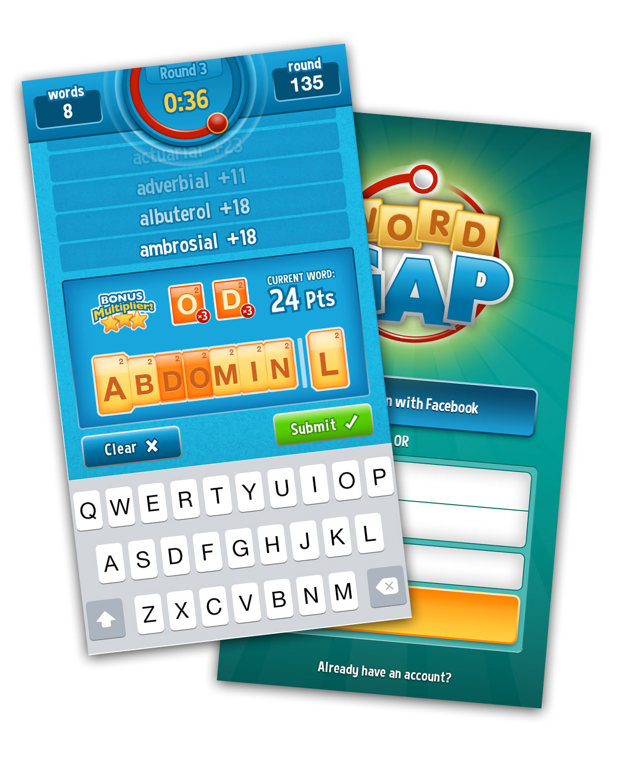 Wordgap screenshots